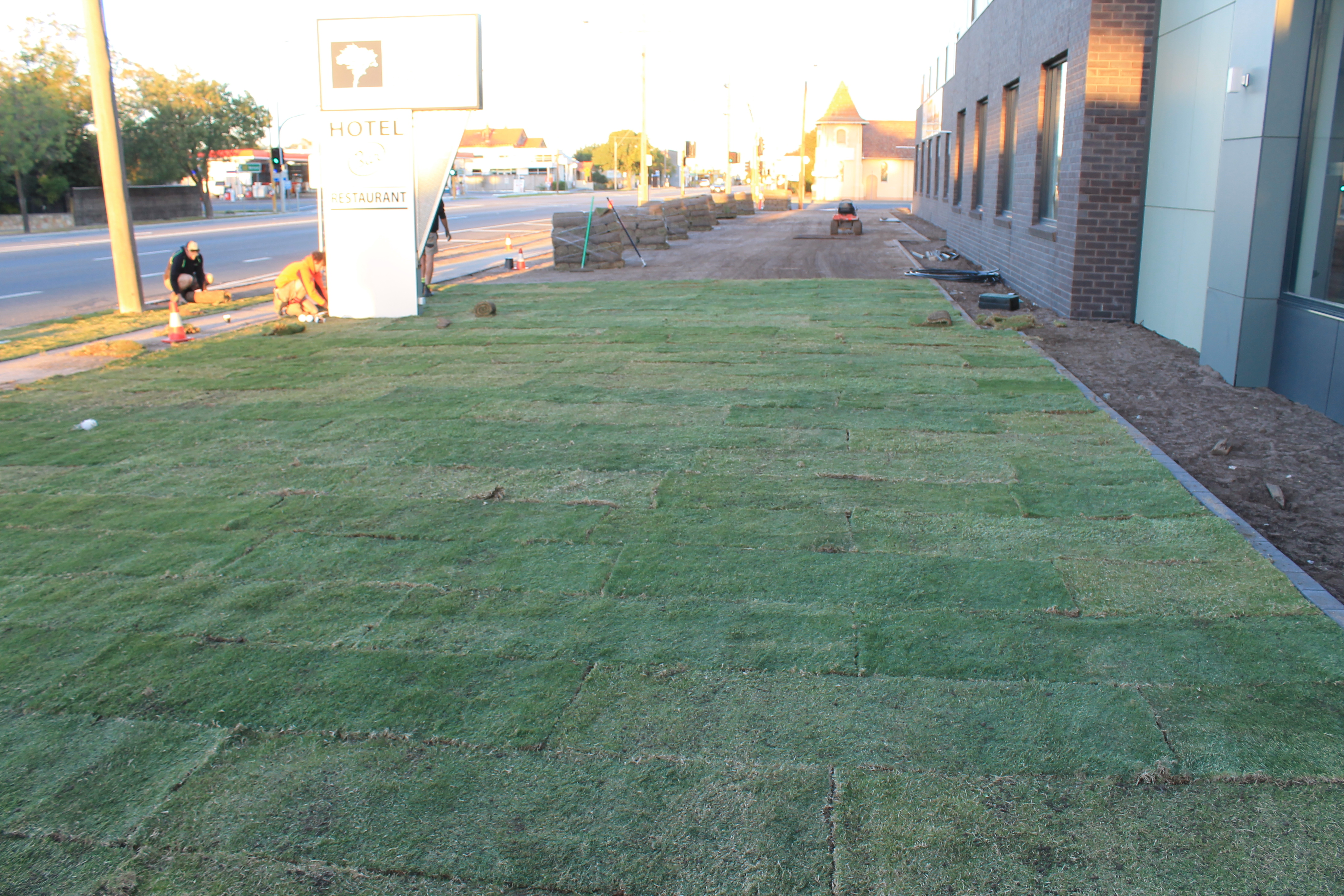 Laying of lawn at Buloke on Baillie