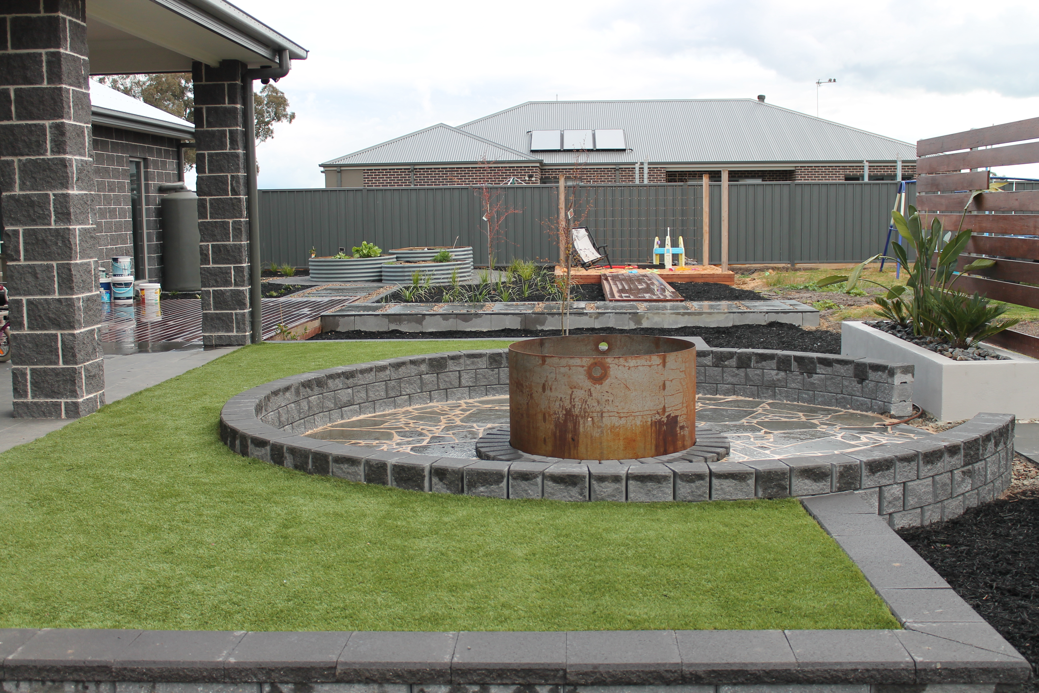 Fire Pit with crazy paving